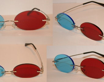 Standard Red and Blue Oval cosplay costume glasses.