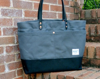 Waxed Canvas Tote Bag with Leather Handles (Extra Large) - Charcoal Gray & Black Color Blocked Tote, Magnetic Closure