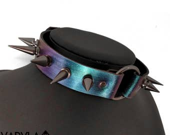 ANTHAXIA / / Iridescent Holographic Leather Spike O-Ring Choker Collar (made to measure)