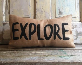 Pillow Cover | Explore pillow | burlap pillow | kids room pillow | kids room decor | Explore Decor | Explore Bedding
