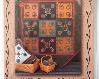 Blossoms & Baskets Quilted Wall Hanging Pattern 9403, Pieceable Kingdom, 1994, Applique, Yo-Yos