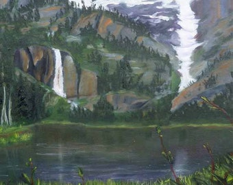 Landscape Painting Oil Painting Original Art Art Prints Giclee Print Oil on Canvas Waterfall Cascade Mountains Carol Lytle Free Shipping #65