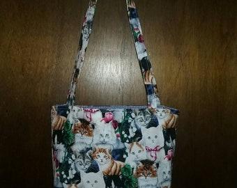 Kitten print market bag, tote bag, library bag, book bag, purse, handbag, gift bag