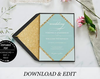Wedding invitation, invitation template, printable invitation, printable wedding, invitation suite, wedding template, wedding invite