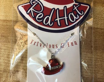 Vintage Red Hat Society Sterling Silver Necklace