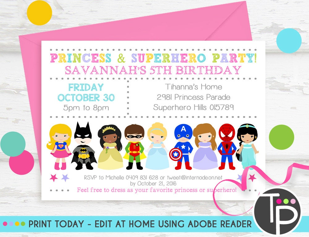superhero and princess party invitations - Boat.jeremyeaton.co