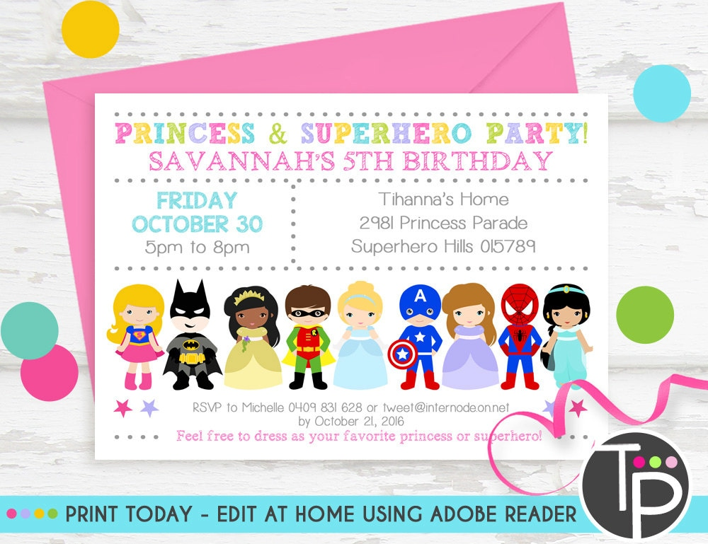 PRINCESS SUPERHERO PARTY Invitation Instant Download