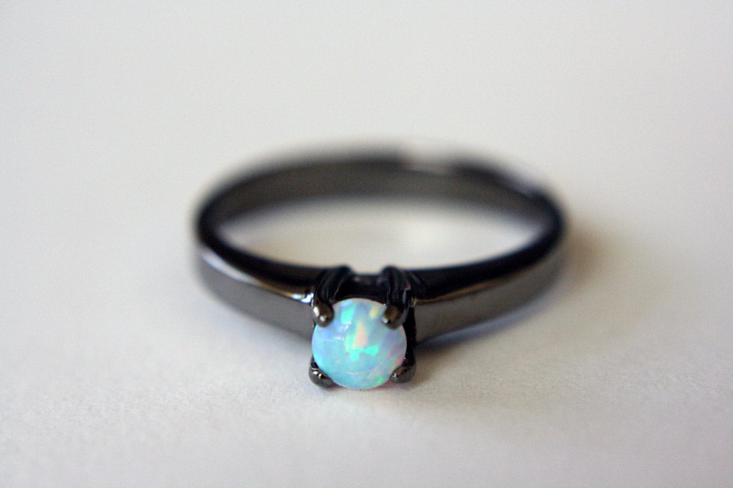 diamond white opal black gold cluster engagement gemstone ring jewellery rings image