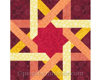 Moorish Ribbon Star quilt block, paper pieced quilt patterns, instant download PDF pattern, Celtic star quilt pattern, Celtic knot patterns