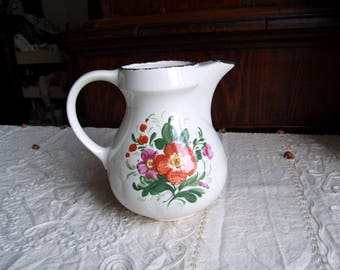 Italian PAGNOSSIN TREVISO ITALY ironstone carafe/pitcher/jug/vase. Kitchen, garden traditional floral rustic chabby chic decor