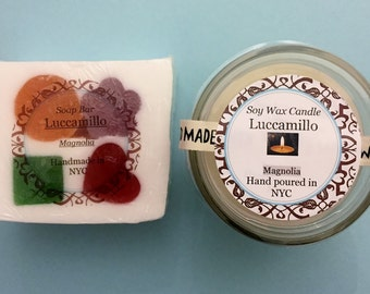 Magnolia Soap with Embeded Coloful Shapes (~6oz Hand-Cut), OR Soap + Candle Set