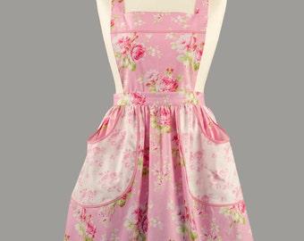 Vintage Style Apron/1940's Style Apron/Floral Apron/ Women's Apron/Apron with Pockets/Pink Apron