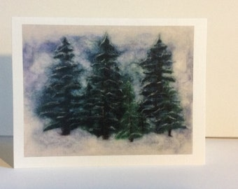 """Art Note Cards (4""""x5"""") """"Winter Pines"""" from my original Needle-felted Wool artwork. (4 notecards and envelopes)"""