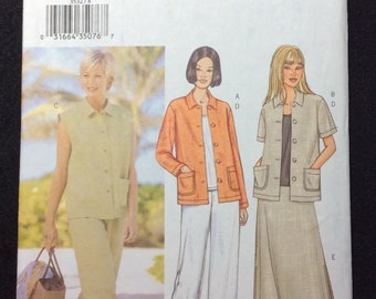 Butterick Fast And Easy Misses'/Misses' Petite Jacket, Vest, Top, Skirt And Pants Pattern 3532 Size 8, 10, 12