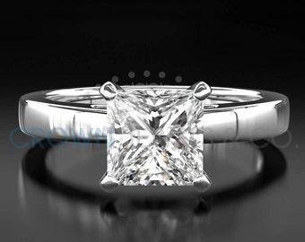 Diamond Anniversary Ring 18 Karat White Gold 1.6 Carat Certified Princess Cut D SI Women Diamond Ring