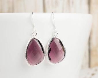 Amethyst Silver Large Earrings, February Birthstone Silver Earrings, Amethyst Silver Dangle Earrings, Purple Silver Earrings #794