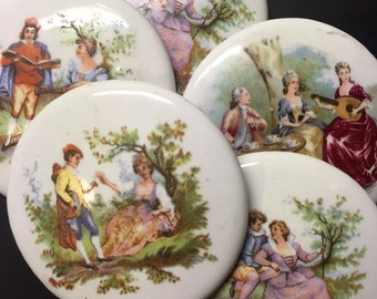 3 Round Ceramic Cabochons - musical portraits