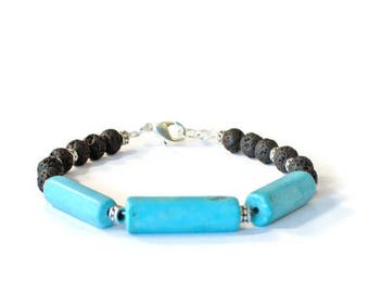 Essential Oil Aromatherapy Diffusing Bracelet, Turquoise Magnesite and Lava Rocks with Antique Silver