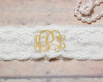Monogrammed Garter, Monogram, Personalized Garter, Custom Garter, Gold Garter, Wedding, Gold Wedding, Garter, Wedding Garter, Brides Garter