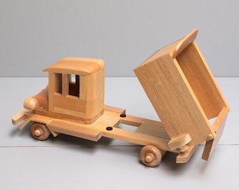 Children's Toy SMALL Wooden Dump Truck Eco-friendly Car Reclaimed Wood Kid's Preschooler Montessori Toy Natural Organic.