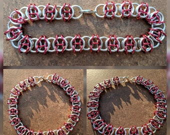 Celtic Visions Bright Silver and Red Aluminum Chainmaille Bracelet