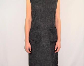Vintage 60's HENRY LEE Charcoal Gray Cotton Blend Mod Hipster Scooter Dress S/M