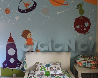 The Cutest Space Walkers and Aliens - Kids Outer Space Wall Decals for Kids, Wall Stickers and Planets Wall Stickers- PLOS010R