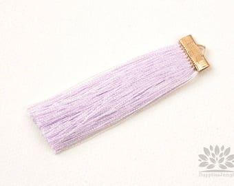 T021-PP// Pastel Purple Rayon with Gold Plated Flat Rectangle Cap Tassel Pendant, 2pcs, 65mm