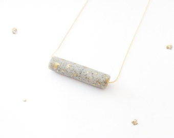 Minimalist Bar Necklace - Gold Leaf Speckles - Copper Grey Granite Duo Tone - Clay Jewelry - Metallic Accent - Unisex Gift - Minimal Chic