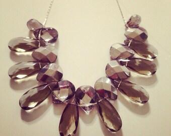 Charcoal Diamond Tear Drop Necklace