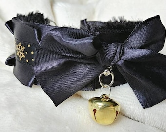 Gold Snowflake & Black Minky Faux Fur Lined Kitten Play Collar - Pet Play Collar
