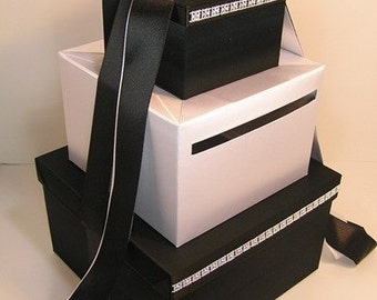 Wedding Card Box Black and White Gift Card Box Money Box Holder--Customize your color