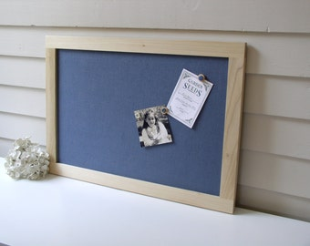 "Modern Bulletin Board - Scandanavian Style Magnetic Framed Magnet Organizer 15 x 22"" with Slate Blue Fabric and Modern Pale Hardwood Frame"