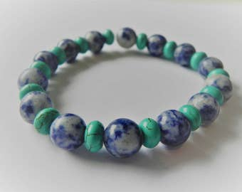 Mens gemstone surfer style bracelet with sodalite and turquoise magnesite.