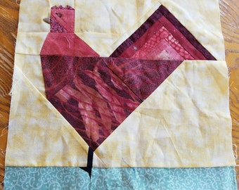 Rooster Quilt Square, Cotton, Handmade, 12x12 Inches
