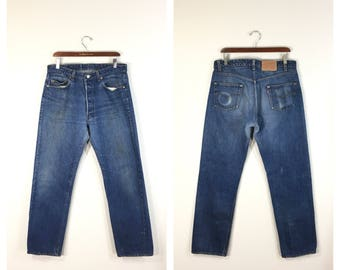 90's levi's 501 blue stitch straight denim pants jeans button fly made in usa size w35