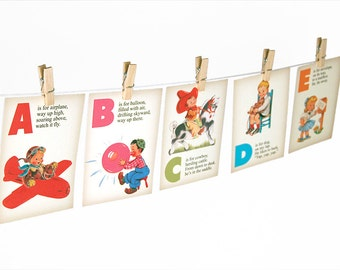 """Rhyming ABC flashcards / printable alphabet flashcards / nursery wall art / printable letters / 5"""" by 7"""" / instant download / educational"""