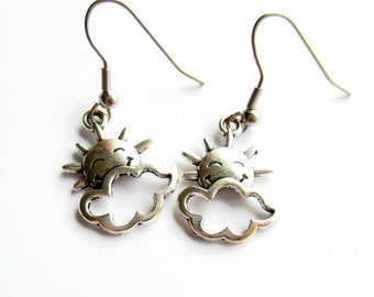 Silver Sunshine Earrings, Sun and Cloud Drop Earrings, Hypoallergenic Surgical Stainless Steel, Girls Earrings