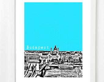 Budapest Skyline Print - Budapest Hungary Poster - Budapest City Art -