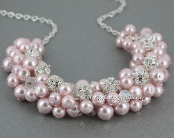 Bridesmaid Blush Necklace Pink Pearl Jewelry Blush Wedding Necklace Pink Pearl Necklace Jewelry Gift for Her Wedding Jewelry Gifts