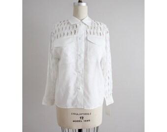 basket weave blouse | white linen blouse | white linen shirt