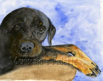 Rottweiler Watercolor print-Rottweiler dog art, watercolor fine art print, pet portrait, pet art, puppy