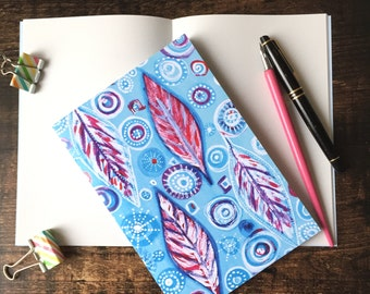 A5 Notebook - Feather design - blank notebook