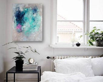 """Original painting, abstract painting on canvas, original gift idea, blue and turquoise,pink painting, 18""""x14"""""""