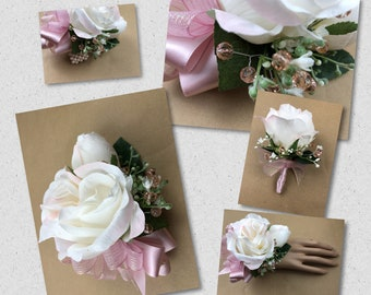 New Boxed Blush Pink Prom Corsage, Boxed Blush Prom Bout, Blush Prom Wrist Corsage