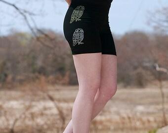 Owl Yoga Shorts, Hot Shorts, Cycle Shorts, Running Shorts, S,M,L