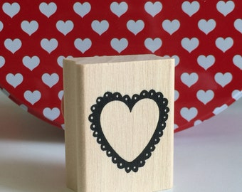 LACE HEART Stamp Wedding Envelope Seal Valentines Day card Valentine Cards Lacey Edge LOVE Shape Wood Mounted Rubber Craft Stamping Crafts