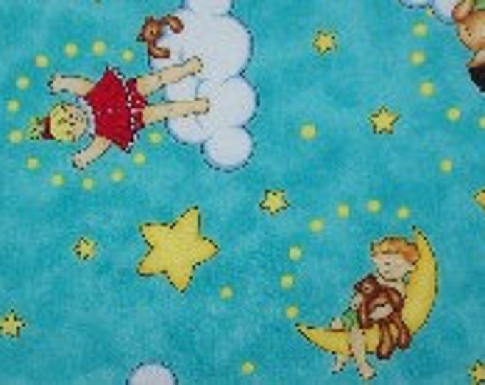 Buddy AndThe Star Babies Cotton Blue Multi-Colored Juvenile Fabric