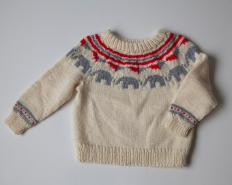 vtg child's hand knit lopi wool sweater with little elephants age 8-10