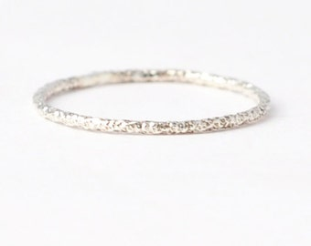 Simple Ring: Textured Silver Band, Gifts under 10